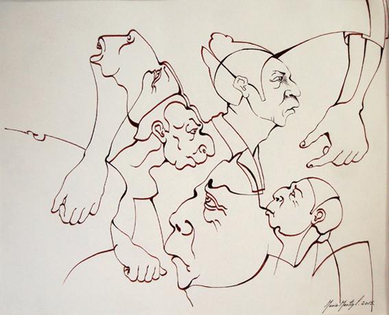 """MARIO MARTÍN DEL CAMPO, """"Línea contínua"""", tinta/papel, 28x34cm, 2015."""