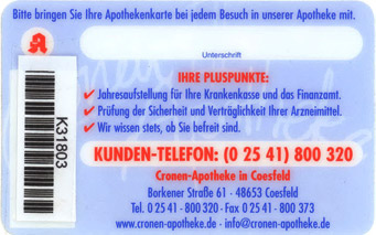 Kundenkarte der Cronen-Apotheke in Coesfeld | Rückseite