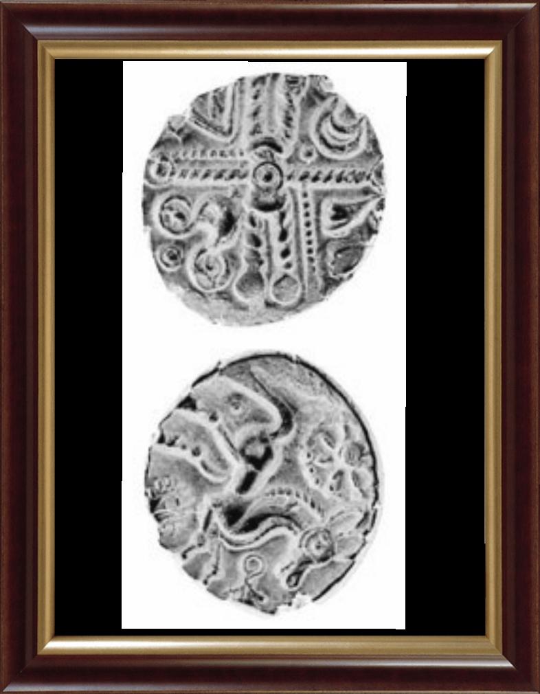 La croix gauloise au milieu des quatre constellations, dont le dauphin.