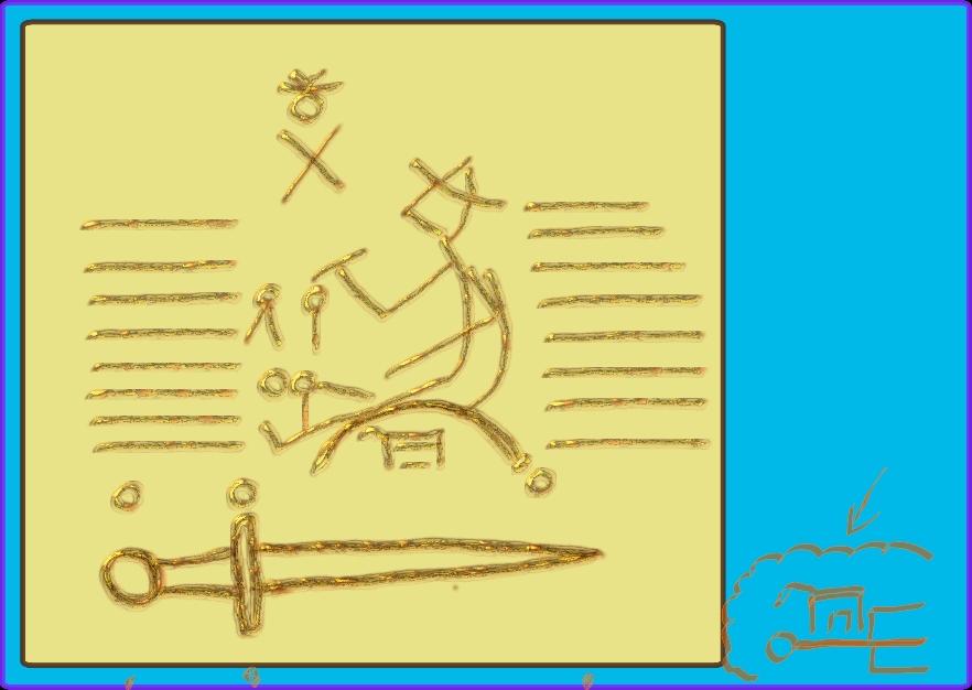 Les cercles sacrés correspondent aux sièges d'une divinité et d'une épée où d'une fourche de la destinée.