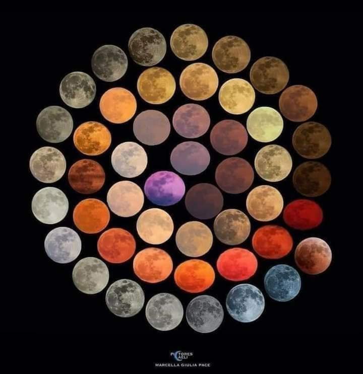 Ci joint l'oeuvre d'un artiste photographe qui a figé toutes les couleurs de la lune, les couleurs de sa cape. Bravo l'artiste. (La mauve, peut être pas quand même).