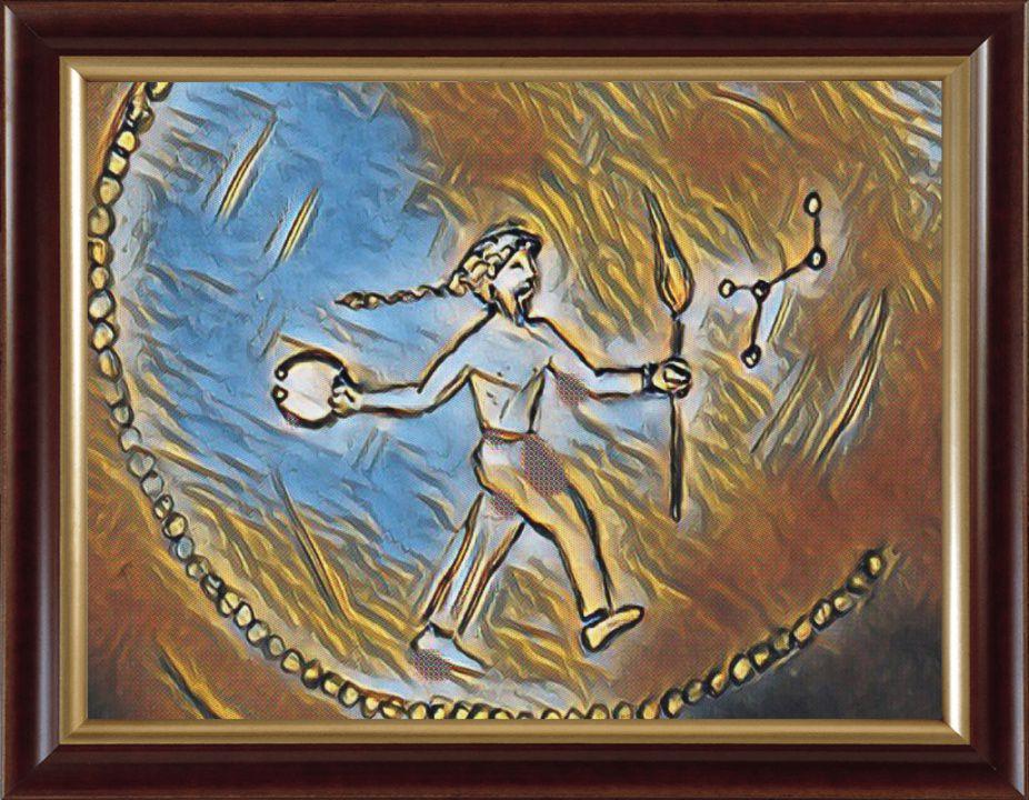 Mythologie gauloise. Celui où celle qui possède la lumière possède aussi la Torc, l'histoire et le temps en marche (monnaie gauloise).