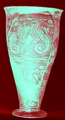 Vase gaulois, l'hypocampe dans le culte des eaux.