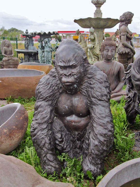 Gorilla Affe Figur Statue Bronze Deko