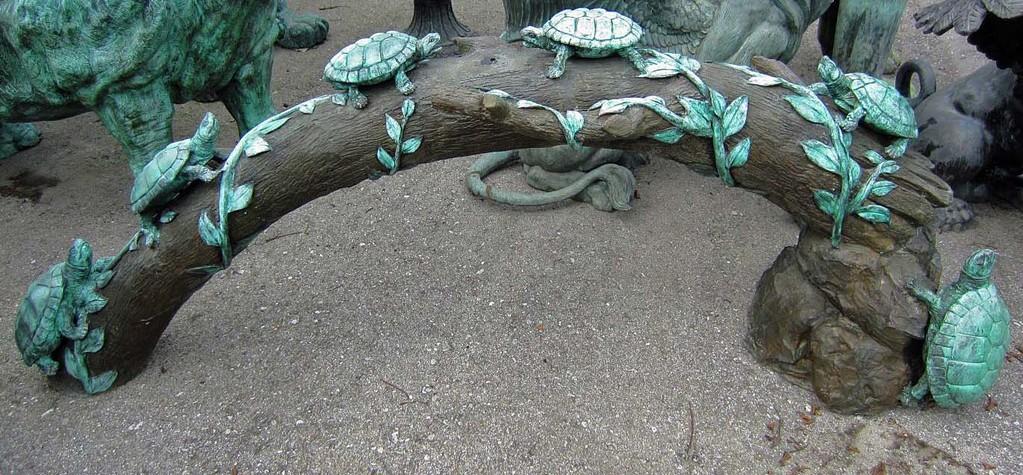 Schildkröten auf Baumstamm aus Bronze für den Garten