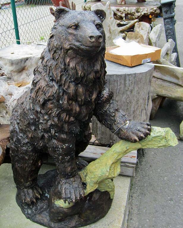 Bär stehend Figur Bronze Skulptur Statue Garten Dekoration