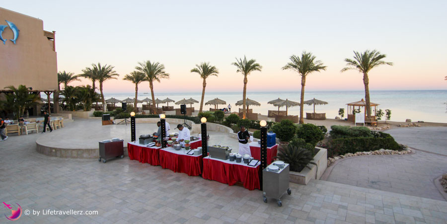 Abendbuffet am Strand im Hotel The Breakers, Somabay, Ägypten