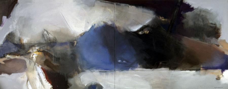 Komposition mit Blau, 1996, Öl auf Leinwand, 160x400, Sparkasse Halberstadt