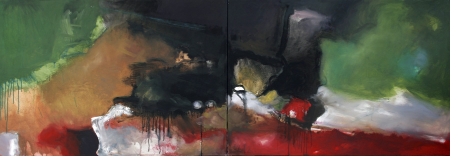Ohne Titel, 2010, Öl auf Leinwand, 70x240, Privatbesitz