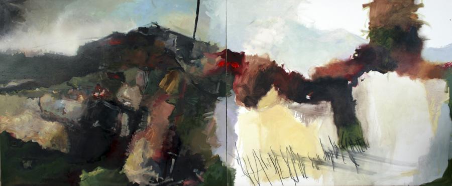 Landschaft, 2016, Öl auf Leinwand, 90x240, Privatbesitz