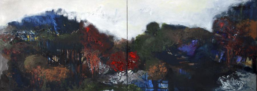 Landschaft, 2016, Öl auf Leinwand, 70x240, Privatbesitz