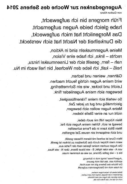 Gedicht Augenfitness gespiegelt von der 13. Woche des Sehens