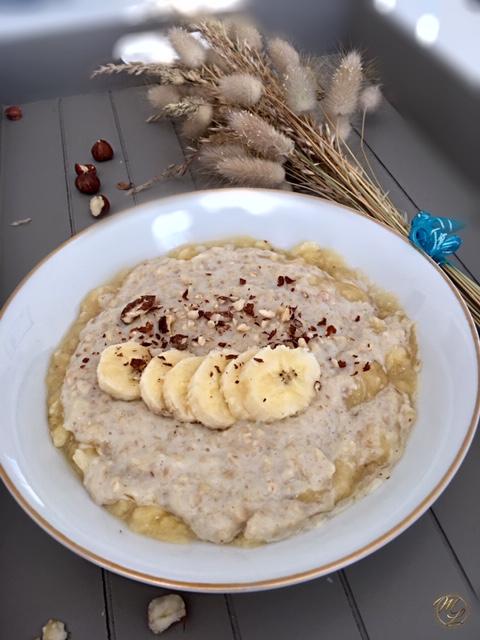 Porridge banane amandes et noisette #féculent