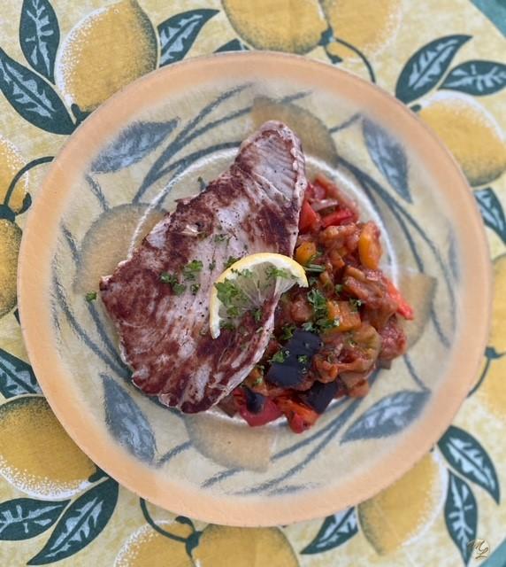Steak de thon grillé, légumes à la provençale #sansféculent
