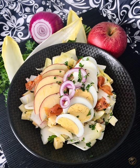 Salade d'endives aux pommes et gouda au cumin #sansféculent