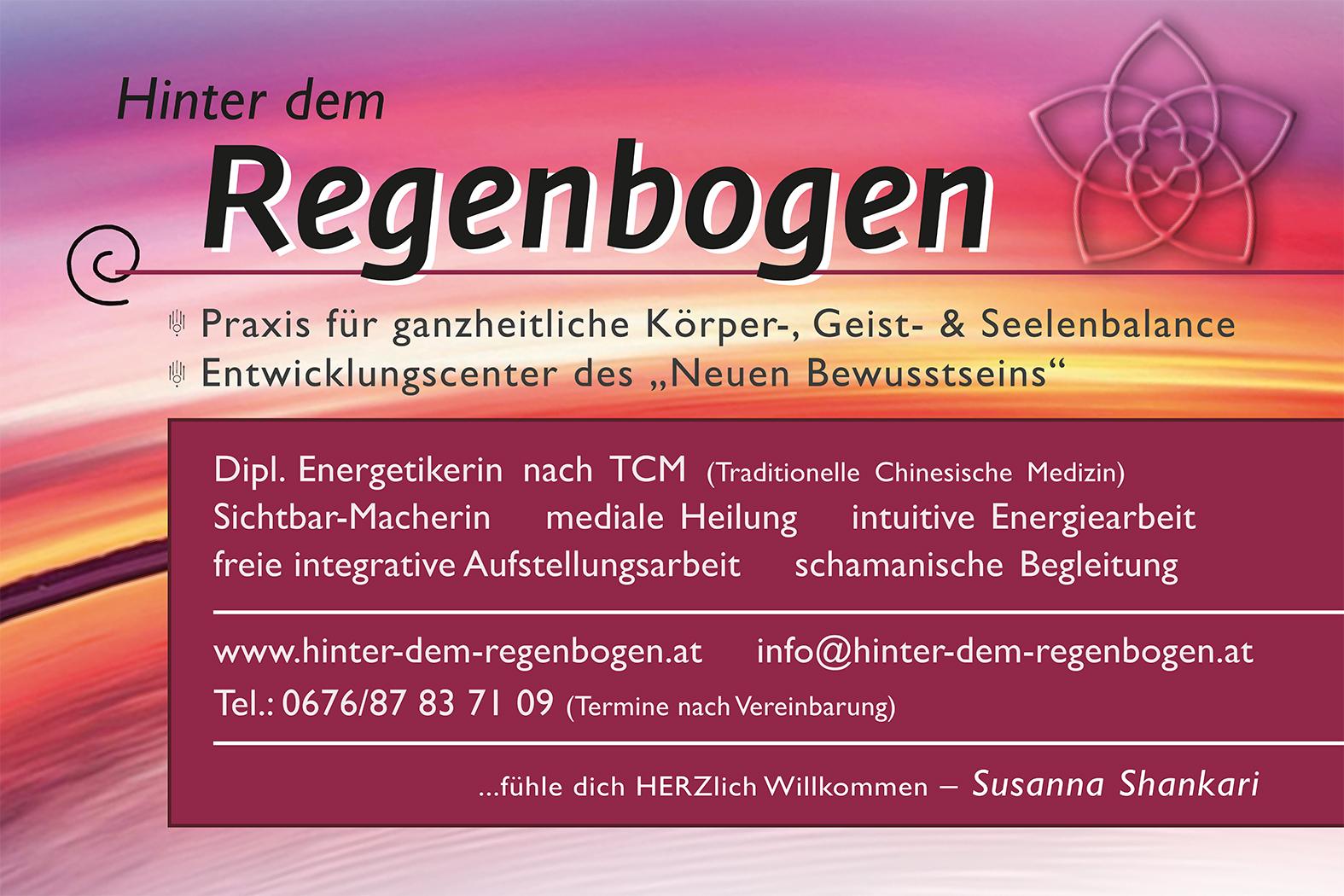 """Wandtafel für Haus-Außen ... Susanna Shankari ... Praxis """"Hinter dem Regenbogen"""" in Pregarten"""