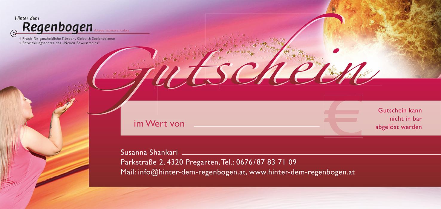 """Gutschein ... Susanna Shankari ... Praxis """"Hinter dem Regenbogen"""" in Pregarten"""