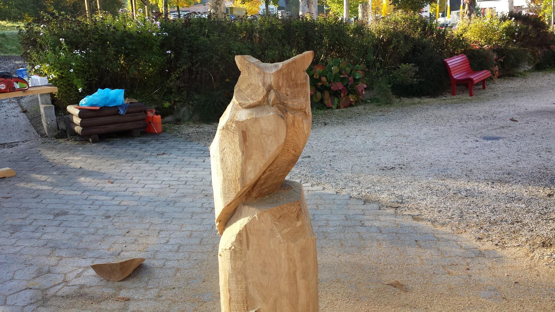 Eule - Schnitzen mit der Kettensäge - Allgäu-Carving by Martina Gast