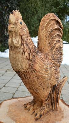 Hahn - Schnitzen mit der Kettensäge - Allgäu-Carving by Martina Gast