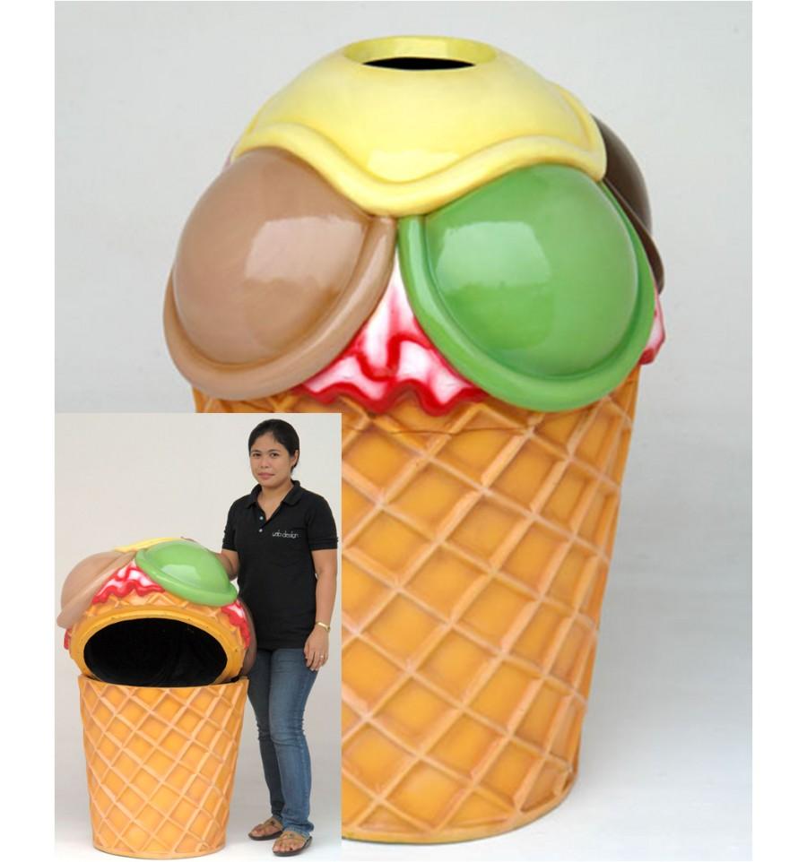 Réplica de helado papelera para la decoración temática de heladerías