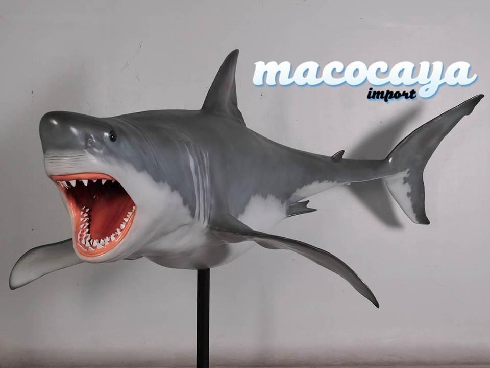 Réplica de tiburón blanco para decorar negocios