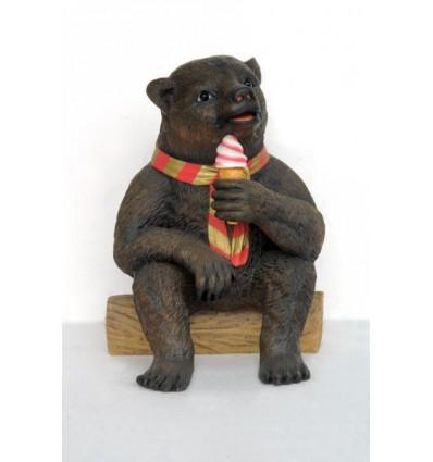 Réplica de oso con helado para la decoración temática de heladerías