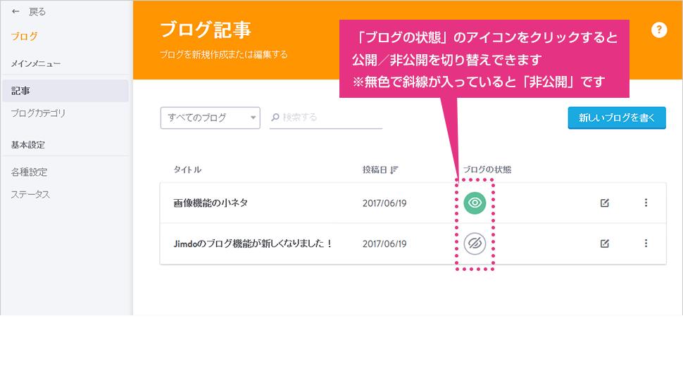 「ブログの状態」のアイコンをクリックし、表示/非表示を切り替え