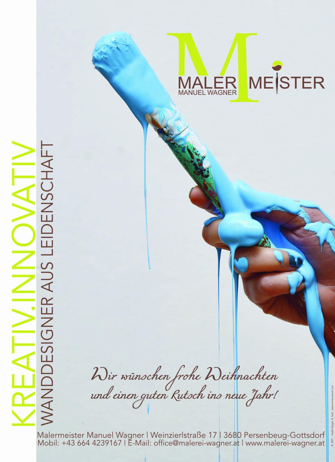 Anzeige - Malermeister Manuel Wagner für Gemeindezeitung (Weihnachtsausgabe)