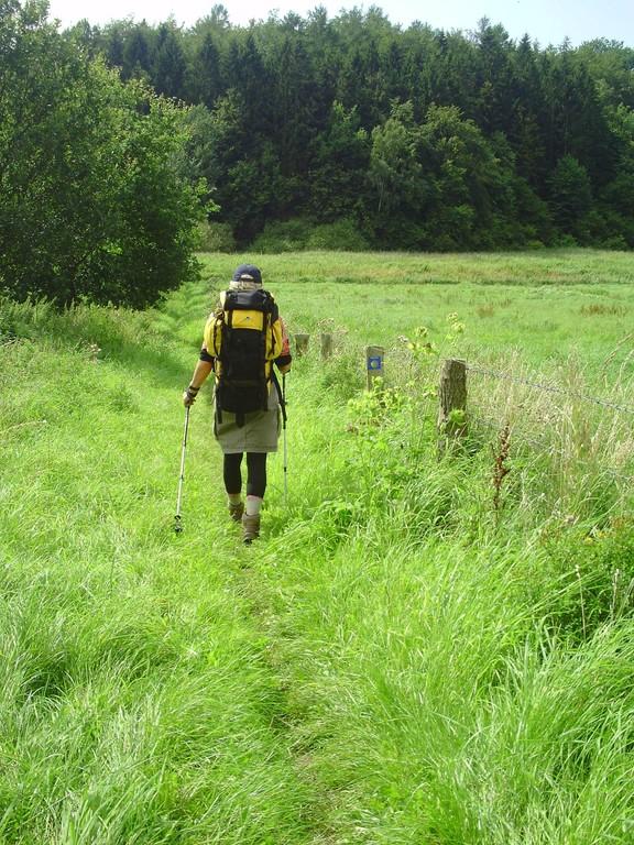 Pilgerin auf dem Weg zwischen Bad Oldesloe und Kloster Nütschau