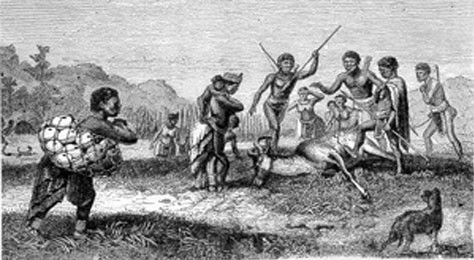 """An engraving by Dr David Livingston shows  hunters with their ridged hunting dog. This drawing was done during his travels as a missionary in South Africa. David Livingstone """"Missionary Travels in South Africa"""" (1857)"""