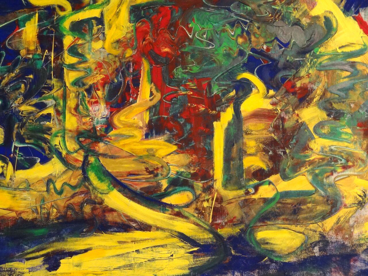"""Jazz-Improvisation"" Gouache auf Leinwand, 90x110 cm"