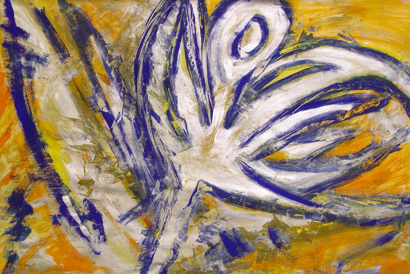 """""""Tanzender Engel"""" Gouache auf Papier, 70x100 cm"""