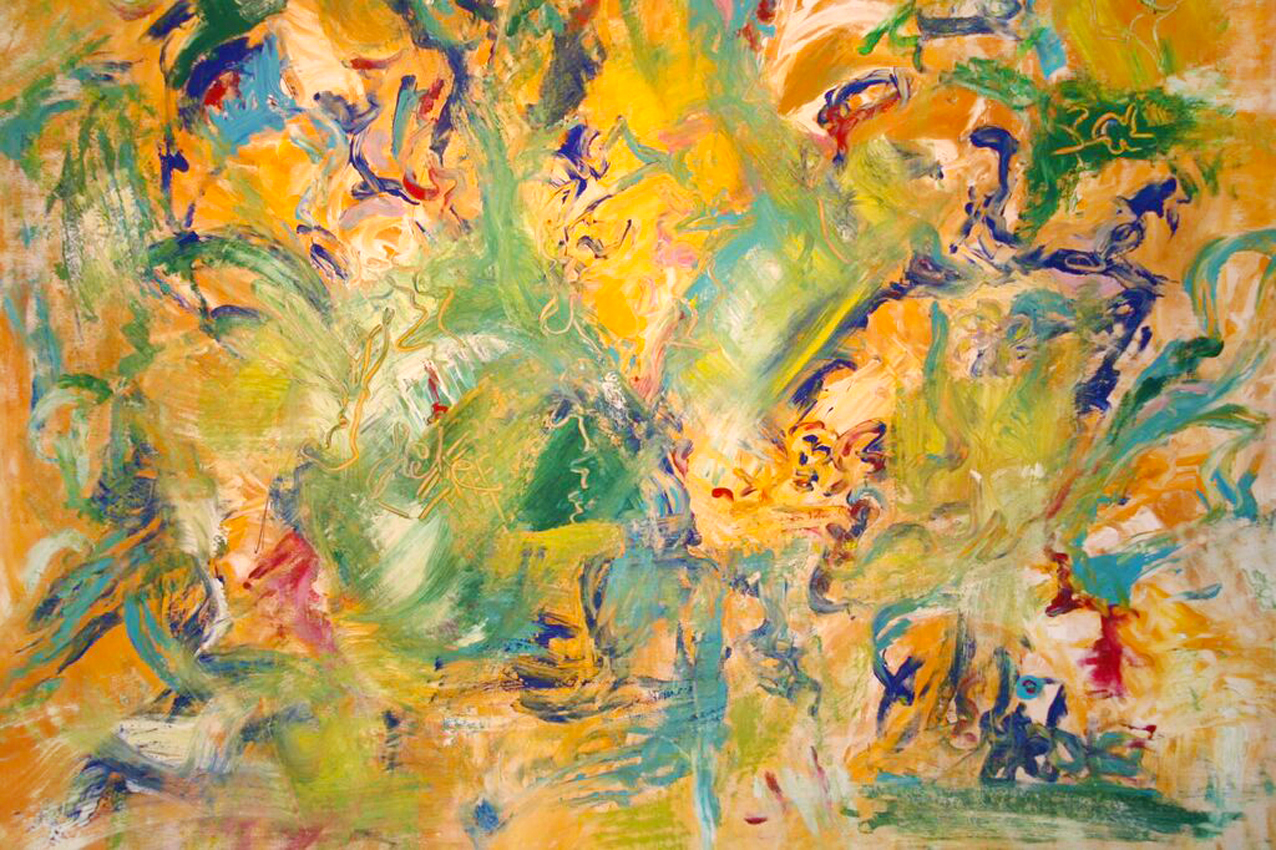 """""""Der Garten"""" Gouache auf Leinwand, 90x110 cm"""