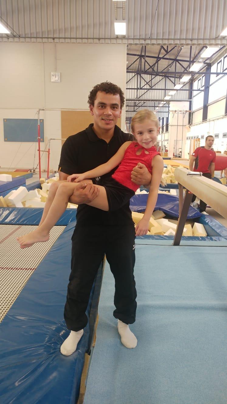 Louisa Nedel mit einem ihrer großen Vorbilder - Europameister Matthias Fahrig