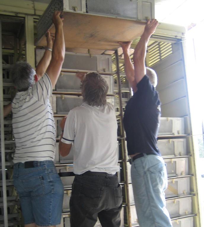 Gemeinsam werden die Boxen in den Kabi verladen