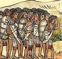 Macehuales portant les denrées des Espagnols. Détail du codex  Mendoza, XVIe.