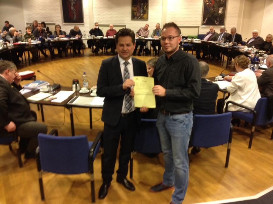 Einführung in den Rat mit dem Wiehler Bürgermeister Ulrich Stücker