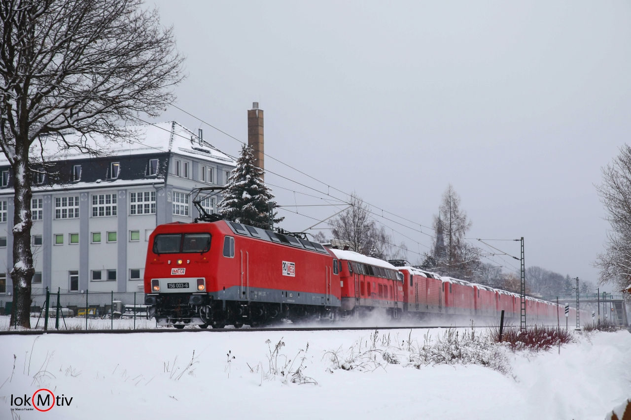 156 003 bringt Lokzug nach Leipzig Engelsdorf