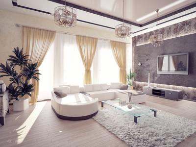Verspieltes Wohnzimmer mit viel Stoff. Foto: © victor zastol'skiy/Fotolia.com