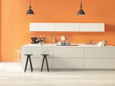Frisch und freudig in den Tag starten - Küche in orange. Foto: © 2mmedia 2/Fotolia.com