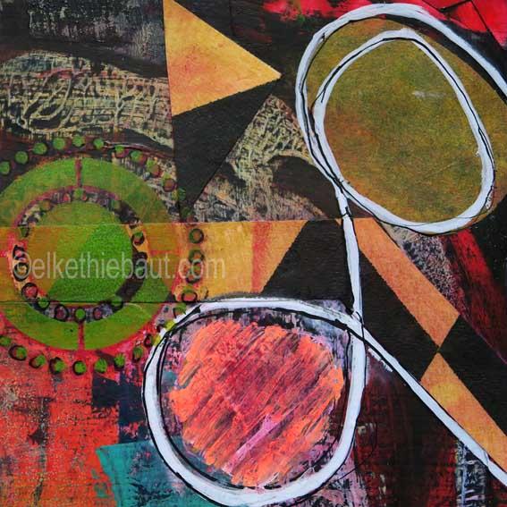 Abstrait N° 57/2017, Acrylique sur papier Fabriano 400 grammes, 15 x 15 cm