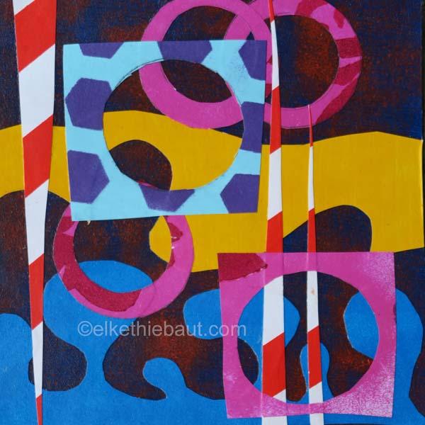 Abstrait N° 63/2017 Acrylique et collages de papiers peints à l'acrylique sur papier Fabriano 400 grammes, recouvert de gesso
