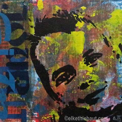"""TiTittre/Title: """"Petit"""", acrylique sur bois, pochoirs multiples crées par moi-même  / stencils made by myself, 20x20x2 cm, resin"""