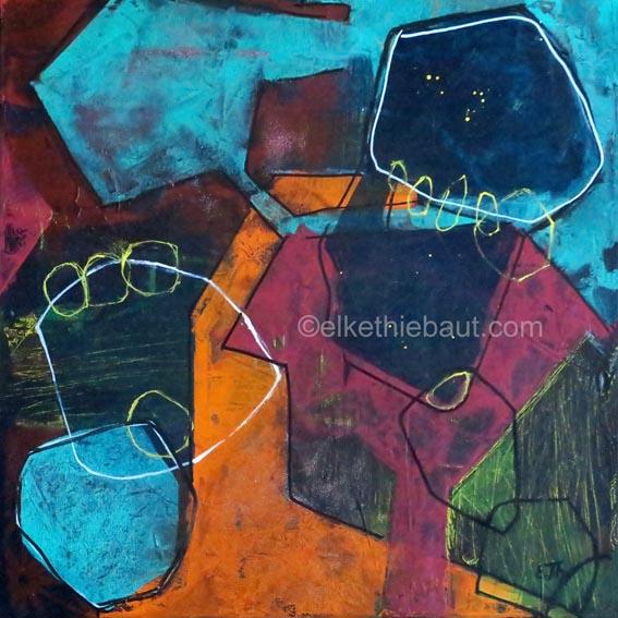 Abstrait N° 70/2017, acrylique sur toile, vernis , 40 x 40 cm