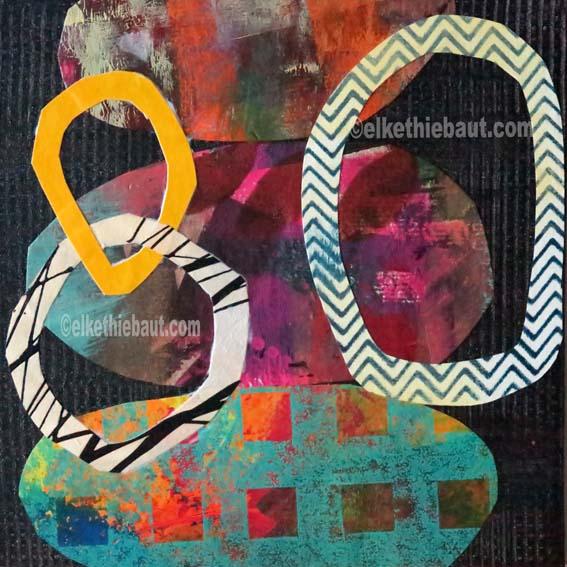 Abstrait N° 83, Collages de papier peints à l'acrylique (par moi-même) sur panneau MDF, recouvert de résine époxy, 20 x 20 cm