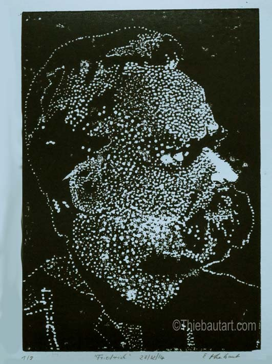 Gravure sur bois sur papier Clairefontaine 180 grammes, 21 x 30 cm sur 24 x 32 cm. Imprimée à la main en 8 exemplaires signés et datés en bas