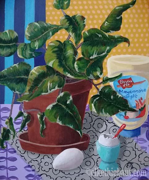 «Still Life with Eggs», acrylique sur toile de lin fin, 41 x 33 x 2 cm/acrylics  on stretched linen, 2019 -VENDU/SOLD -