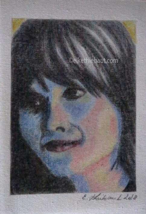 """""""Alexandra"""", dessin aux crayons de couleurs sur toile libre, format A5"""