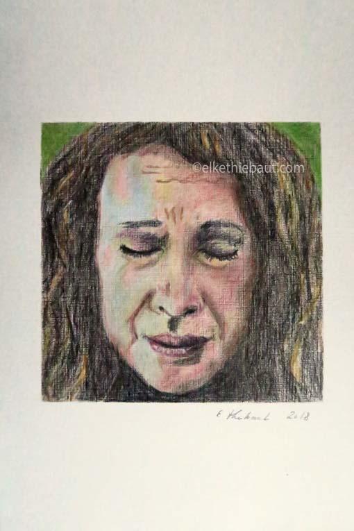 """""""Linda"""", dessin aux crayons de couleur, 15x15 cm sur papier Hahnemühle 210 grammes 20 x 30 cm, colored pencils drawing on Hahnemühle 110 lbs"""
