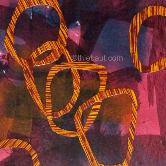 Abstrait N° 81, Collages de papier peints à l'acrylique (par moi-même) sur panneau MDF, recouvert de résine époxy, 20 x 20 cm